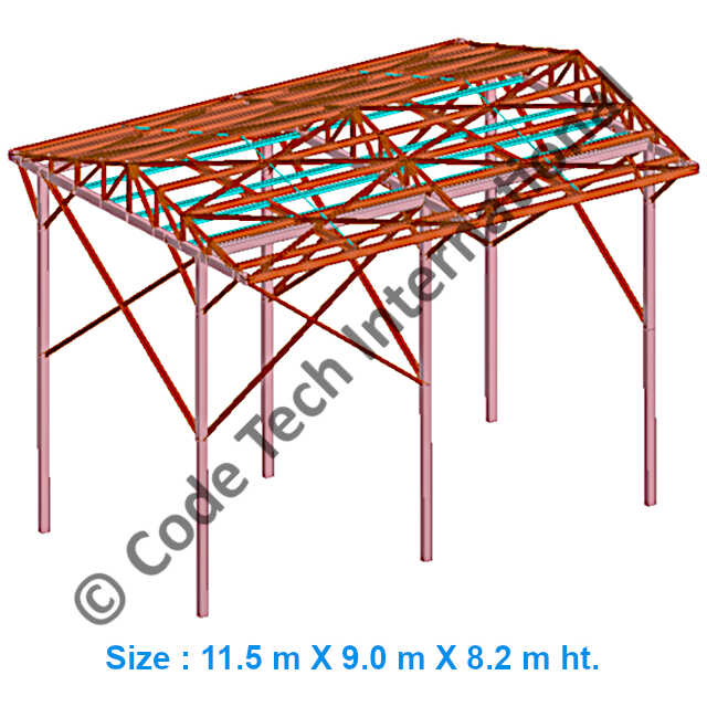 Industrial Sheds Model STAAD Structural Analysis 1