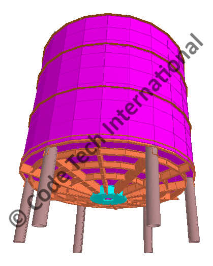 Elevated Storage Tank STAAD Model 2
